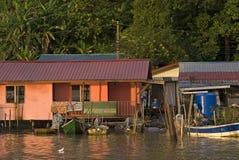 Wioska rybacka, Kampung Salak, Borneo, Sarawak, Malezja zdjęcie stock