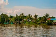 Wioska rzeką w Sarawak, Kuching, Malezja Fotografia Stock