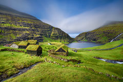 Wioska Saksun, Faroe wyspy, Dani Fotografia Royalty Free