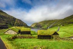 Wioska Saksun, Faroe wyspy, Dani obrazy royalty free