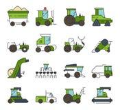 Wioska transport Rolne maszyny i techniki czerparki ładowacza buldożeru ciężkiego żniwiarza ciągnikowy wektorowy automobilowy ilustracji
