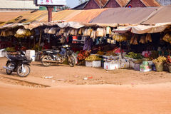 Wioska uliczny rynek w Kambodża zdjęcie stock