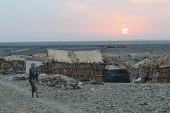 Wioska w Danakil depresji Etiopia Zdjęcia Stock