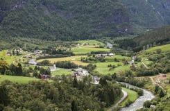 Wioska w Norway w górach Zdjęcia Stock