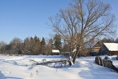 Wioska w zimie Zdjęcia Stock