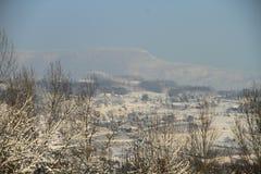 Wioska w zimie Fotografia Stock