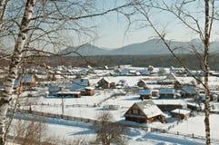 Wioska w zimie w Syberia Obraz Royalty Free