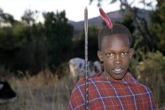 Wioski życie, portreta Maasai młodzi poganiacze, Kenja Fotografia Stock