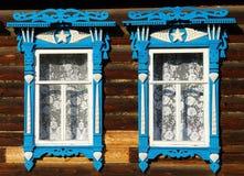 wioski domowy rosyjski okno Fotografia Stock