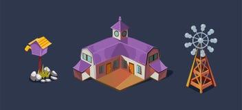 Wioski gospodarstwa rolnego dom i wiatraczek, mobilny gemowy interfejsu użytkownika GUI element dla wideo gra komputerowa wektoru ilustracji