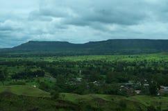 Wioski Satara krajobraz w monsunie Zdjęcie Royalty Free