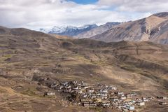 Wioski ?ycie, Spiti, tybeta?czyk, himachal fotografia royalty free