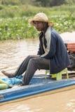Wioski życie w spławowej wiosce blisko Siem Przeprowadza żniwa Obraz Royalty Free