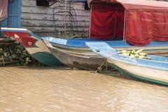 Wioski życie w spławowej wiosce blisko Siem Przeprowadza żniwa Fotografia Royalty Free