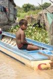 Wioski życie w spławowej wiosce blisko Siem Przeprowadza żniwa Obraz Stock