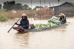 Wioski życie w spławowej wiosce blisko Siem Przeprowadza żniwa Zdjęcia Royalty Free