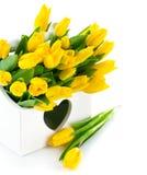 Wiosna żółci tulipany w drewnianym koszu Zdjęcia Royalty Free