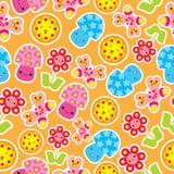 Wiosna bezszwowy wzór z ślicznym motylem, pieczarką i kwiat kreskówką, Obraz Royalty Free