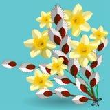 Wiosna bukiet daffodils i kici wierzba kwitnie ilustracja wektor