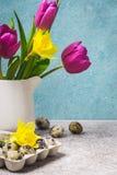 Wiosna bukiet tulipany i daffodils dostępny karciany Easter eps kartoteki powitanie Obraz Stock