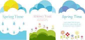 Wiosna czas. Trzy karty z chmurami, słońcem i kwiatami, Fotografia Royalty Free