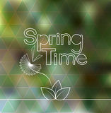 Wiosna czasu literowanie zamazywał tło z geometrycznym trójboka wzorem Obrazy Stock
