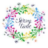 Wiosna czasu wianek ilustracja wektor