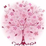 wiosna dekoracyjny różowy drzewo ilustracji