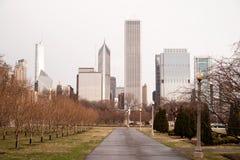 Wiosna deszczów Grant parka W centrum centrum miasta Chicago Illinois Obrazy Stock