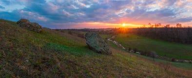 Wiosna dnia wynika HDR panorama obrazy stock