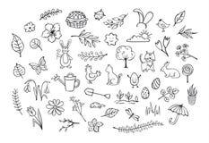 Wiosna Easter zarysowywał ręki rysujących simpe dziecinnych doodles ilustracja wektor