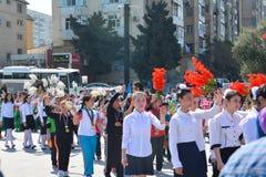 Wiosna festiwal kwiaty, szkolny festiwal w Baku mieście Fotografia Royalty Free
