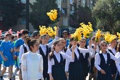 Wiosna festiwal kwiaty, szkolny festiwal w Baku mieście Fotografia Stock
