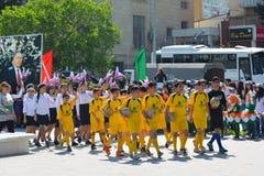 Wiosna festiwal kwiaty, szkolny festiwal w Baku mieście Zdjęcia Stock