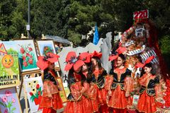 Wiosna festiwal kwiaty, szkolny festiwal w Baku mieście Zdjęcia Royalty Free