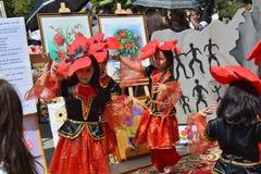 Wiosna festiwal kwiaty, szkolny festiwal w Baku mieście Obraz Stock