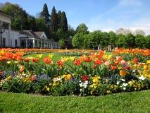 Wiosna flowergarden z tulipanami w Baden-Baden, Niemcy obrazy royalty free