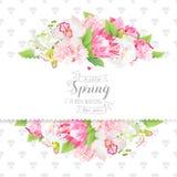 Wiosna i liścia projekta horyzontalna wektorowa karta kwitniemy ilustracja wektor