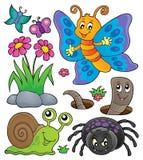 Wiosna insekta i zwierząt temat ustawia 4 royalty ilustracja