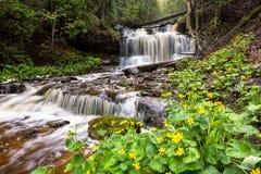 Wiosna jaskiery przy Wagner spadkami - Munising Michigan obrazy royalty free