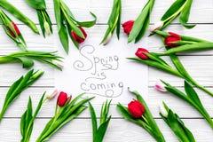 Wiosna jest nadchodzącym literowaniem otaczającym kolorowymi tulipanami na białej drewnianej tło odgórnego widoku kopii przestrze Obrazy Royalty Free