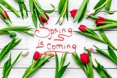 Wiosna jest nadchodzącym literowaniem otaczającym kolorowymi tulipanami na białej drewnianej tło odgórnego widoku kopii przestrze Obraz Royalty Free