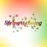 Wiosna jest nadchodzącym plakatem i tłem wektor Obrazy Stock