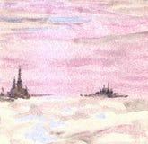 Wiosna krajobraz w różowych brzmieniach ilustracja zdjęcia royalty free