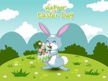 Wiosna krajobraz z ślicznym kreskówka królikiem, jajko i kwiaty 2007 pozdrowienia karty szczęśliwych nowego roku Wektorowy ilustr ilustracji