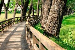 Wiosna krajobraz z drewnianym mostem Zdjęcie Royalty Free