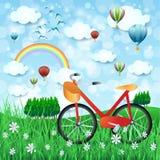 Wiosna krajobraz z roweru i gorącego powietrza balonami Obrazy Stock