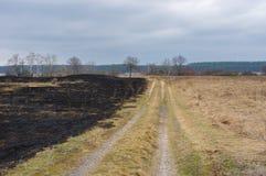 Wiosna krajobraz z ziemską drogą i burnt trawą Zdjęcie Royalty Free