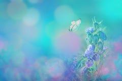 Wiosna kwiatu kwitnący dzwon i motyl na błękitnym tle w naturze outdoors, makro-, kopii przestrzeń Magiczny blask księżyca _ obrazy stock