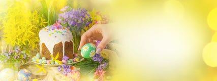 Wiosna kwiatu sztandaru tło z Wielkanocnymi jajkami Wielkanocny wakacyjny kreatywnie tło Widok z kopii przestrzenią Obraz Royalty Free